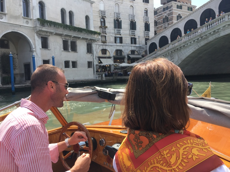 Trudy Dujardin approaching the Rialto Bridge - enjoying www.grand-tourist.com experience
