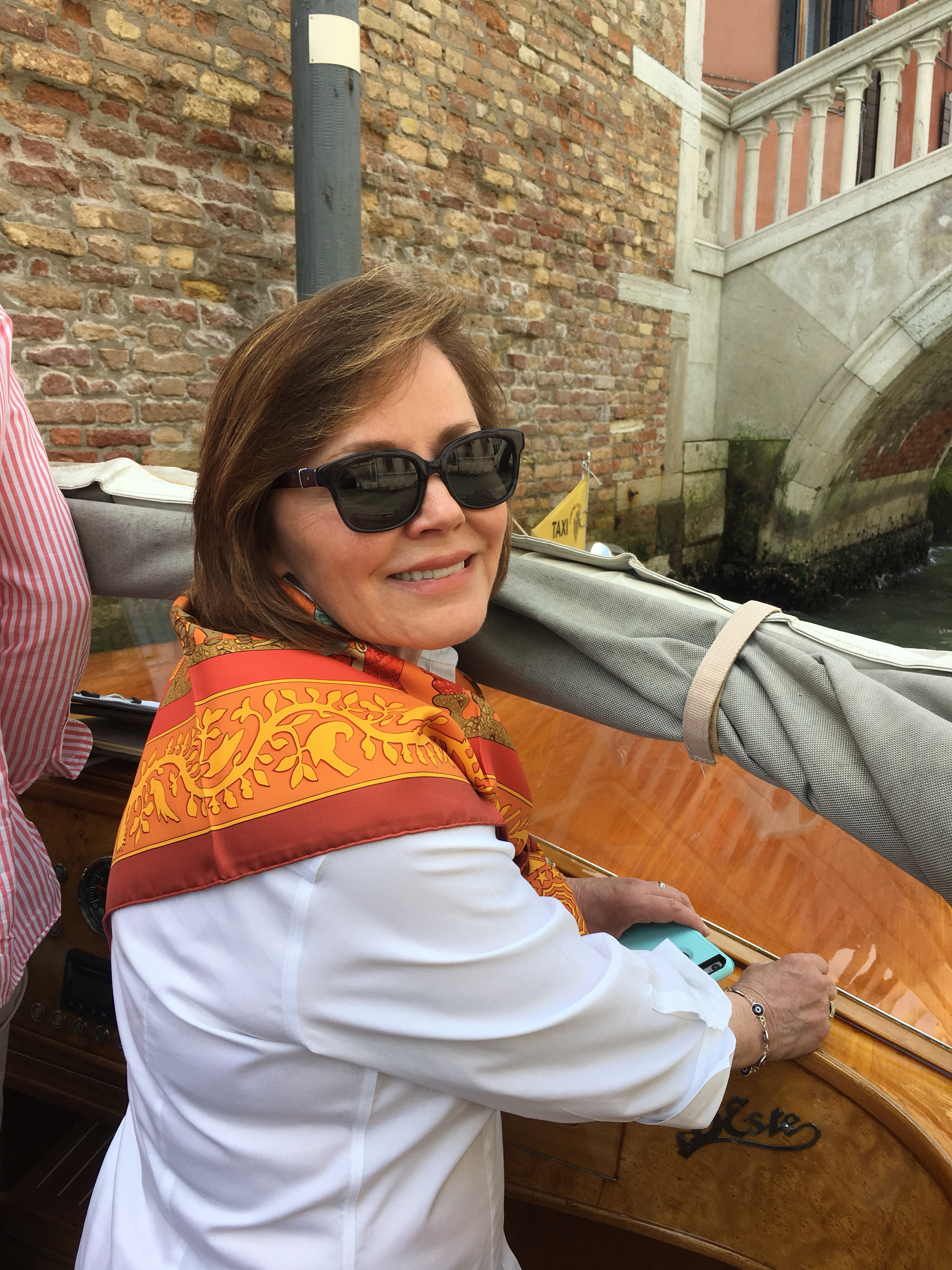 Trudy Dujardin stylish in Hermes, Venice - enjoying www.grand-tourist.com experience