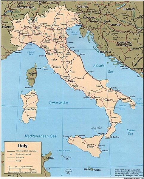 The map above shows historic routes through Italy - often dating back to Roman times.