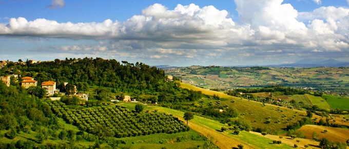 Le Marche - view from Recanati towards the Sibillini Mountains