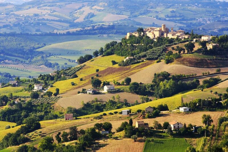 The town of Recanati, Le Marche, Italy