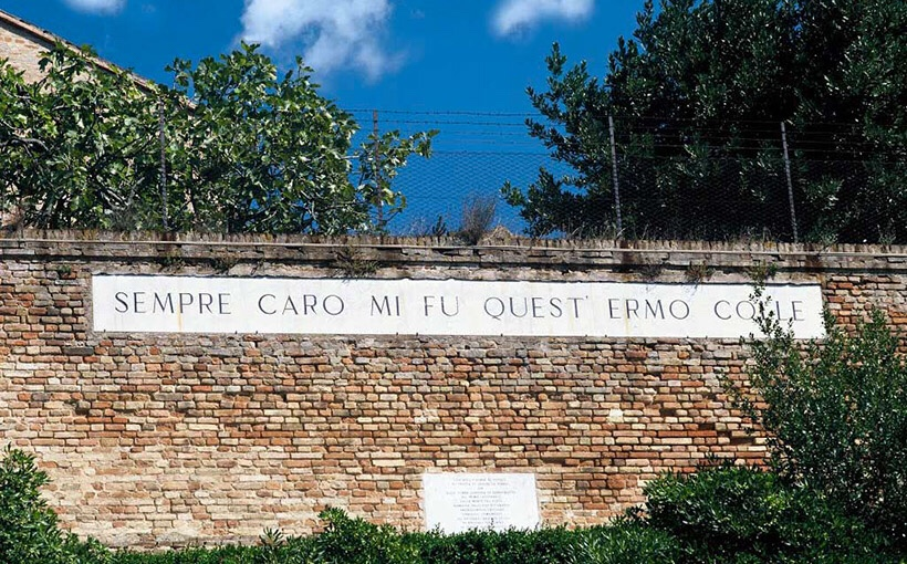 Leopardi - a line from his poem L'Infinito, on a wall in his home town of Recanati