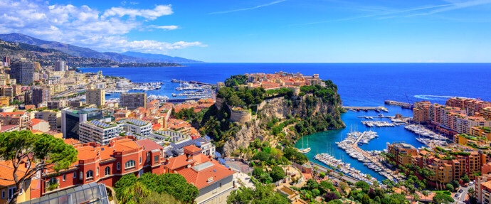 Monaco - panoramic view with Fontveille in the foreground