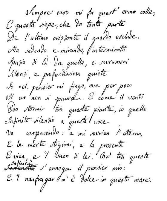 L'Infinito - Giacomo Leopardi - hand written manuscript (1818)