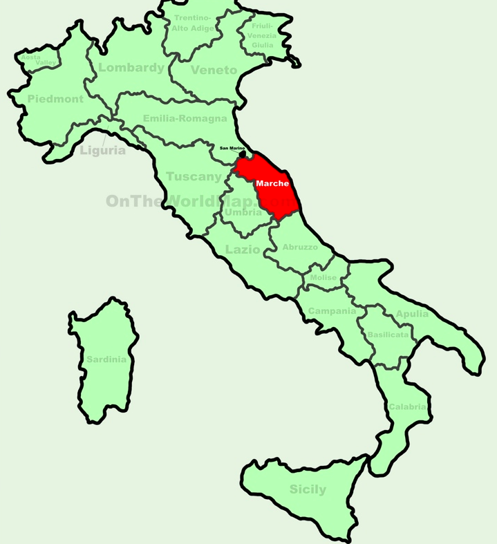 Map of Italy and regions - Le Marche region is highlighted. There are airports at Ancona and Pescara. Le Marche is a two hour drive south of Venice. Map by: www.OntheWorldMap.com