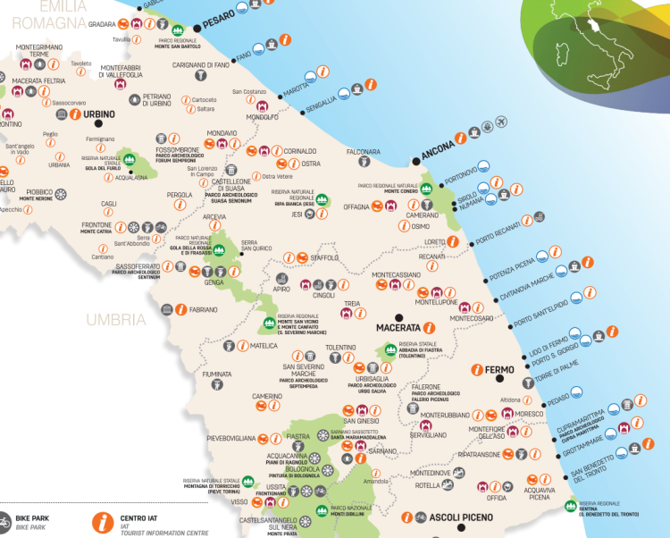 Map of Le Marche region. South of the Veneto and east of Tuscany.