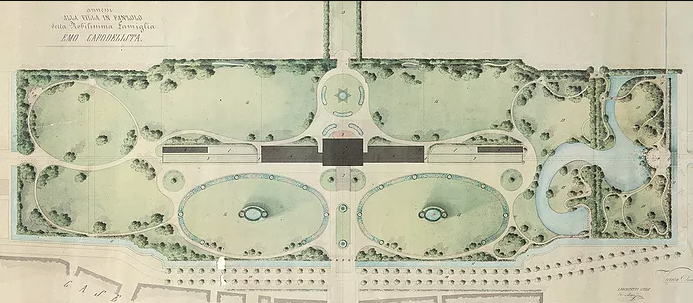 Villa Emo - plan of park and house