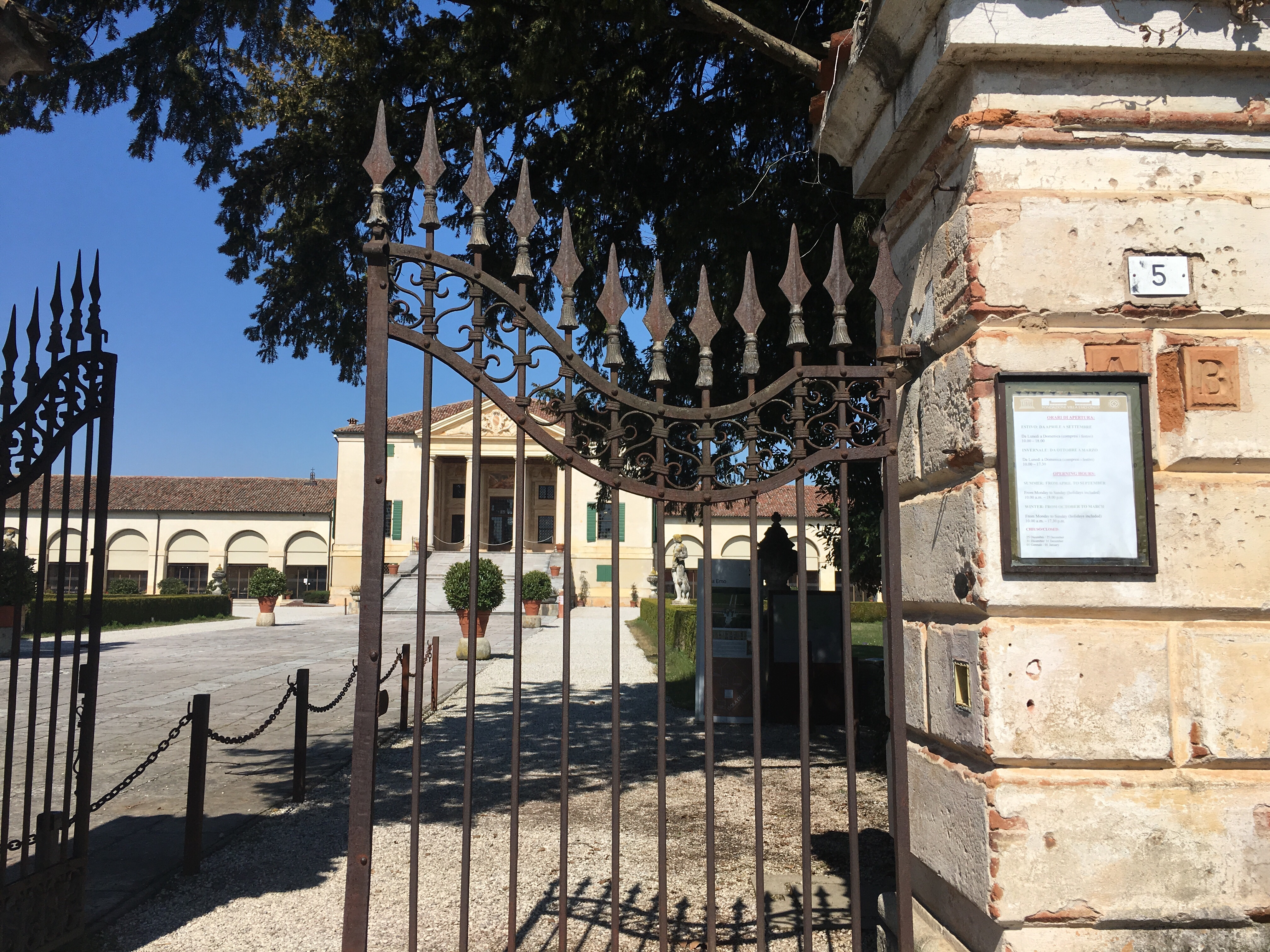 Villa Emo, Palladian Villa from the imposing wrought iron gates - www.educated-traveller.com