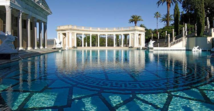 Hearst Castle - Neptune Pool Panorama - with spectacular views to the coast and Pacific Ocean