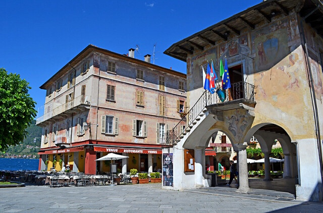 The piazza in Orta San Giulio