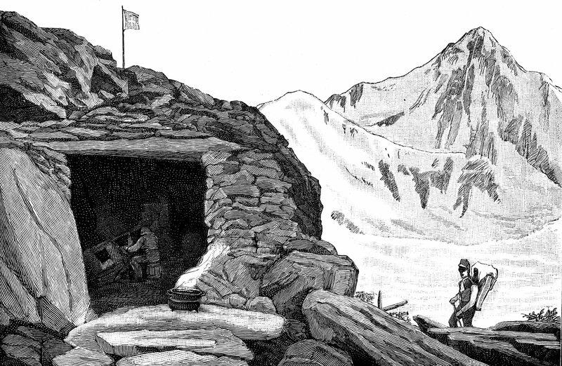 Auberge Neuchatelois - Louis Agassiz's shelter on the Aar Glacier, 1840s