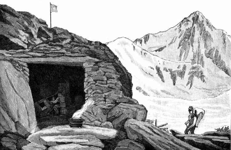 Auberge Neuchatelois - Louis Agassiz's shelter on the Aar Glacier, 1840s