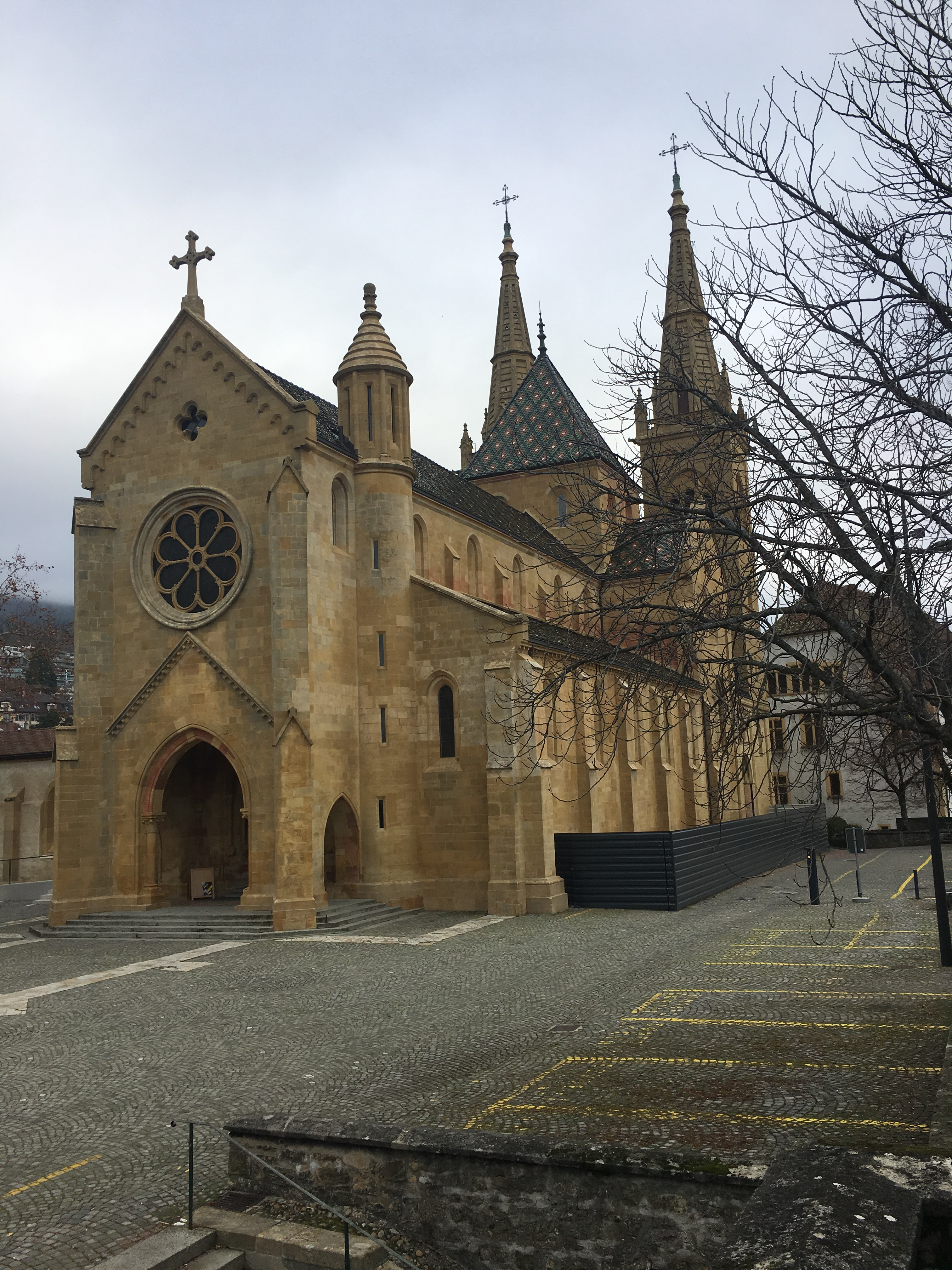 Neuchatel Cathedral adjacent to the castle in the old town.