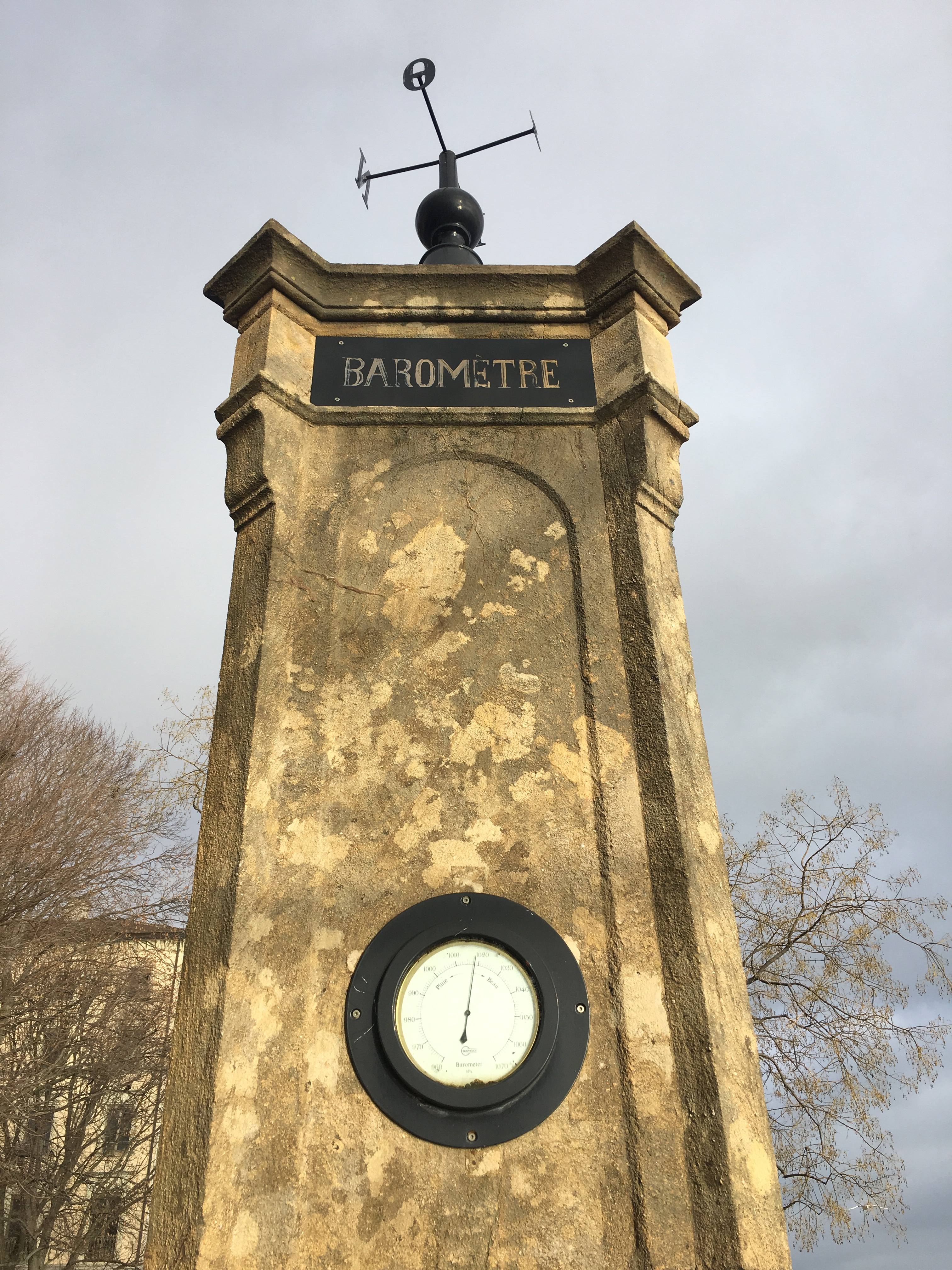 Neuchatel - a restored barometer measures pressure and predicts the weather, lake shore