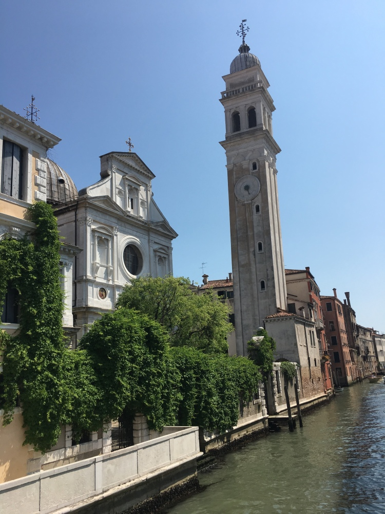 San Giorgio dei Greci, Venezia - white Istrian stone cladding covers the church and bell tower.