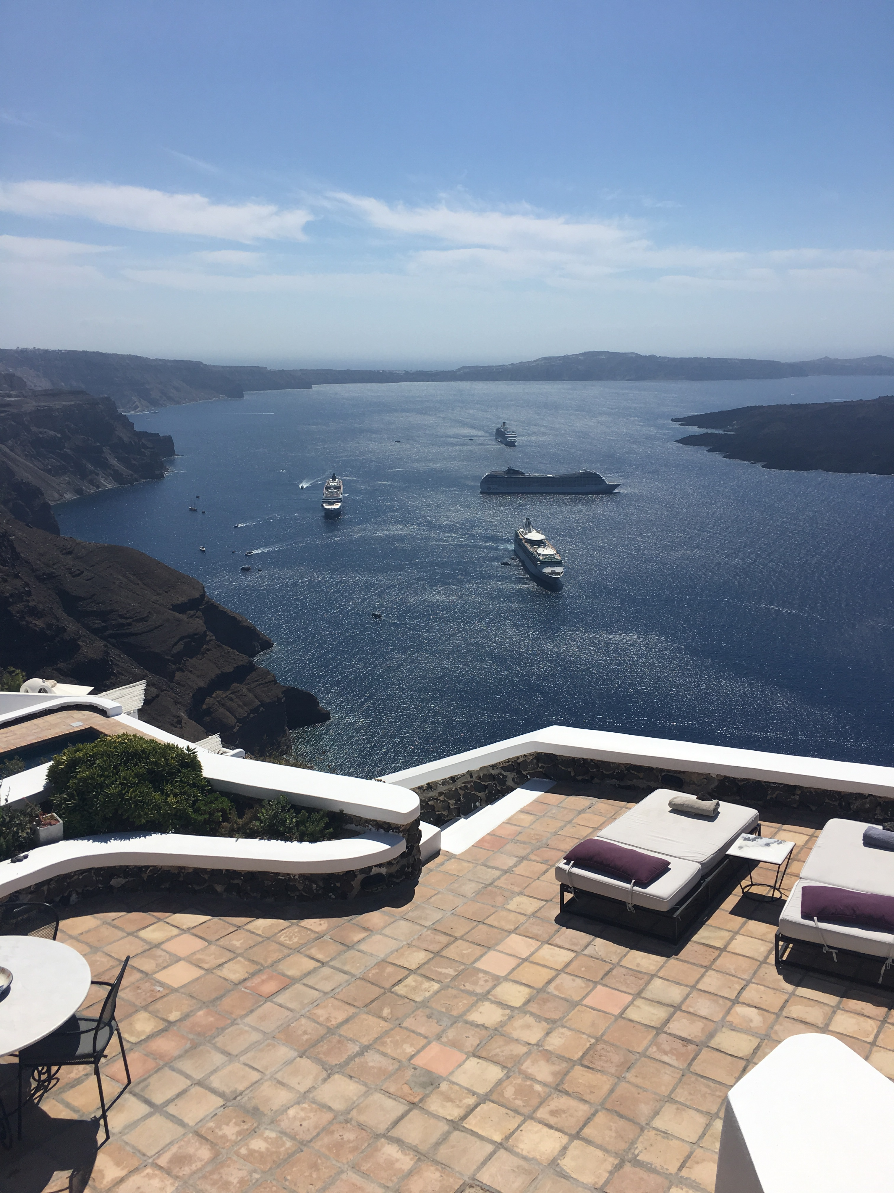 Santorini - the view from The Vasilicos into the caldera (natural harbour)