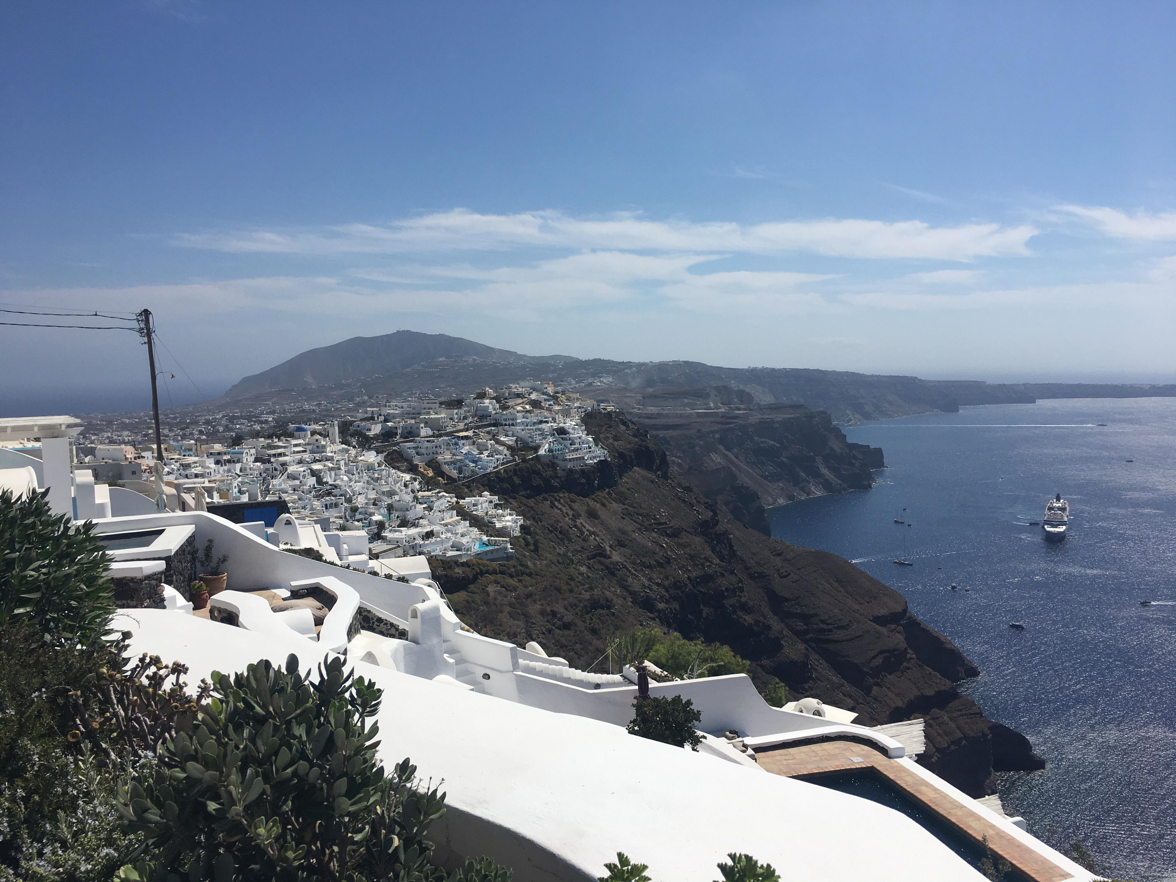Santorini - panorama from the 'Vasilicos' Hotel down to the caldera.