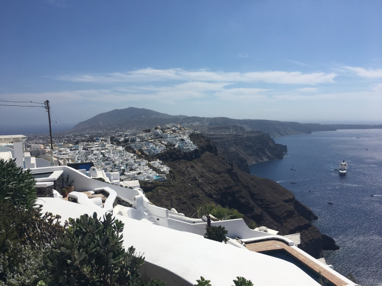 Santorini - panorama from the 'Vasilicos' Hotel down to the caldera.