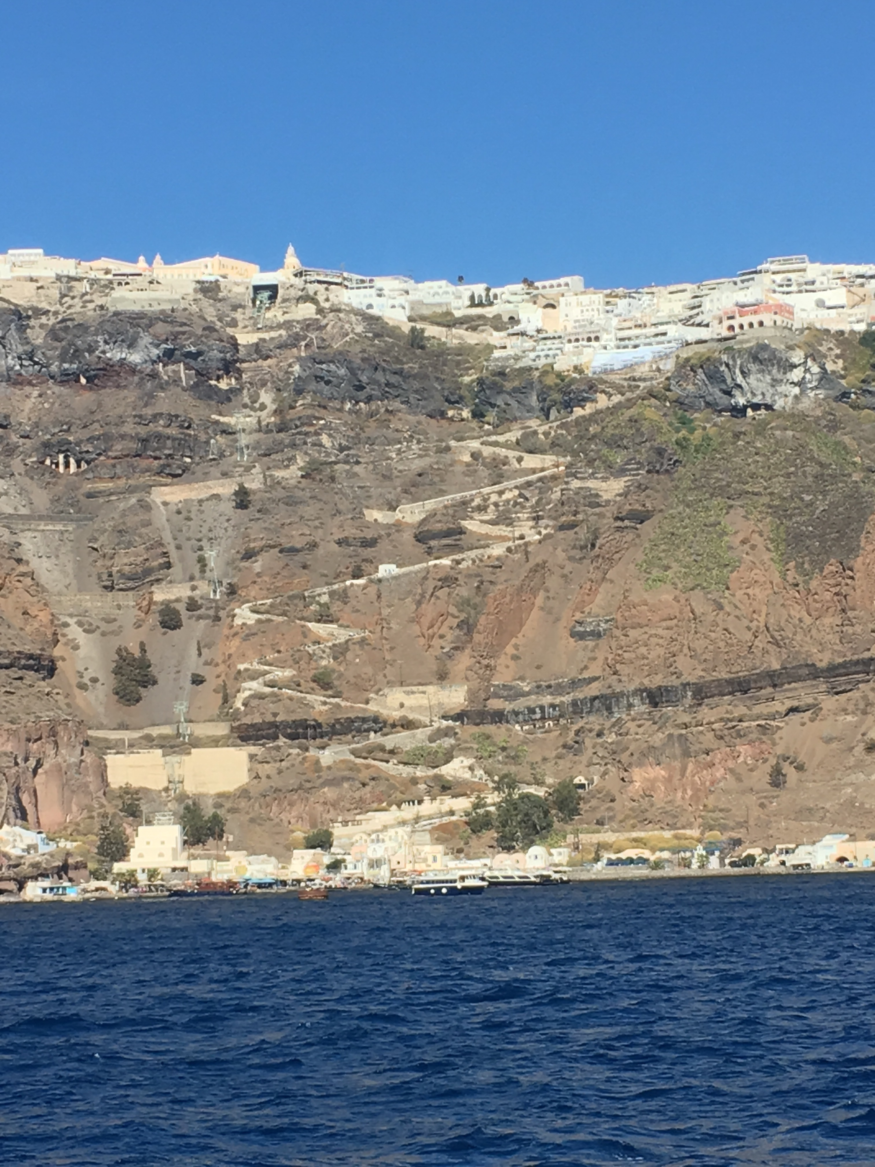 Santorini - an ancient mule track zig-zags from the harbour to the town above