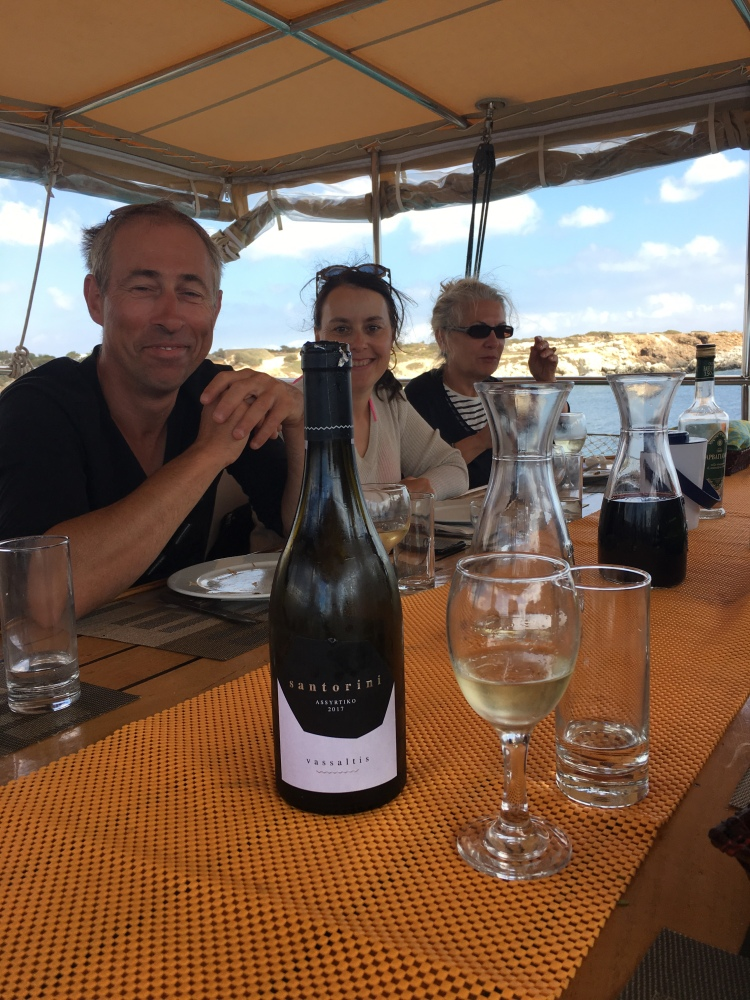 Vassaltis white wine on board our yacht