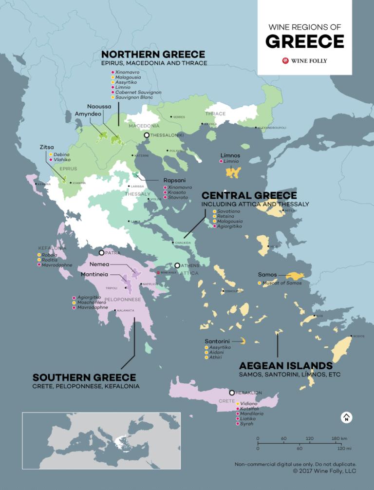 The wine regions of Greece - map by Wine Folly