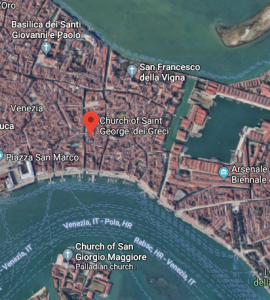 San Giorgio dei Greci (St George of the Greeks) is located a short distance from Riva degli Schiavoni (main landing stage for boats in Venice)