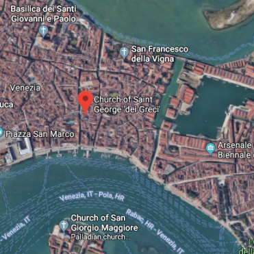 San Giorgio dei Greci (St George of the Greeks) is located a short distance from Riva degli Schiavoni (main landing stage for boats in Venice)