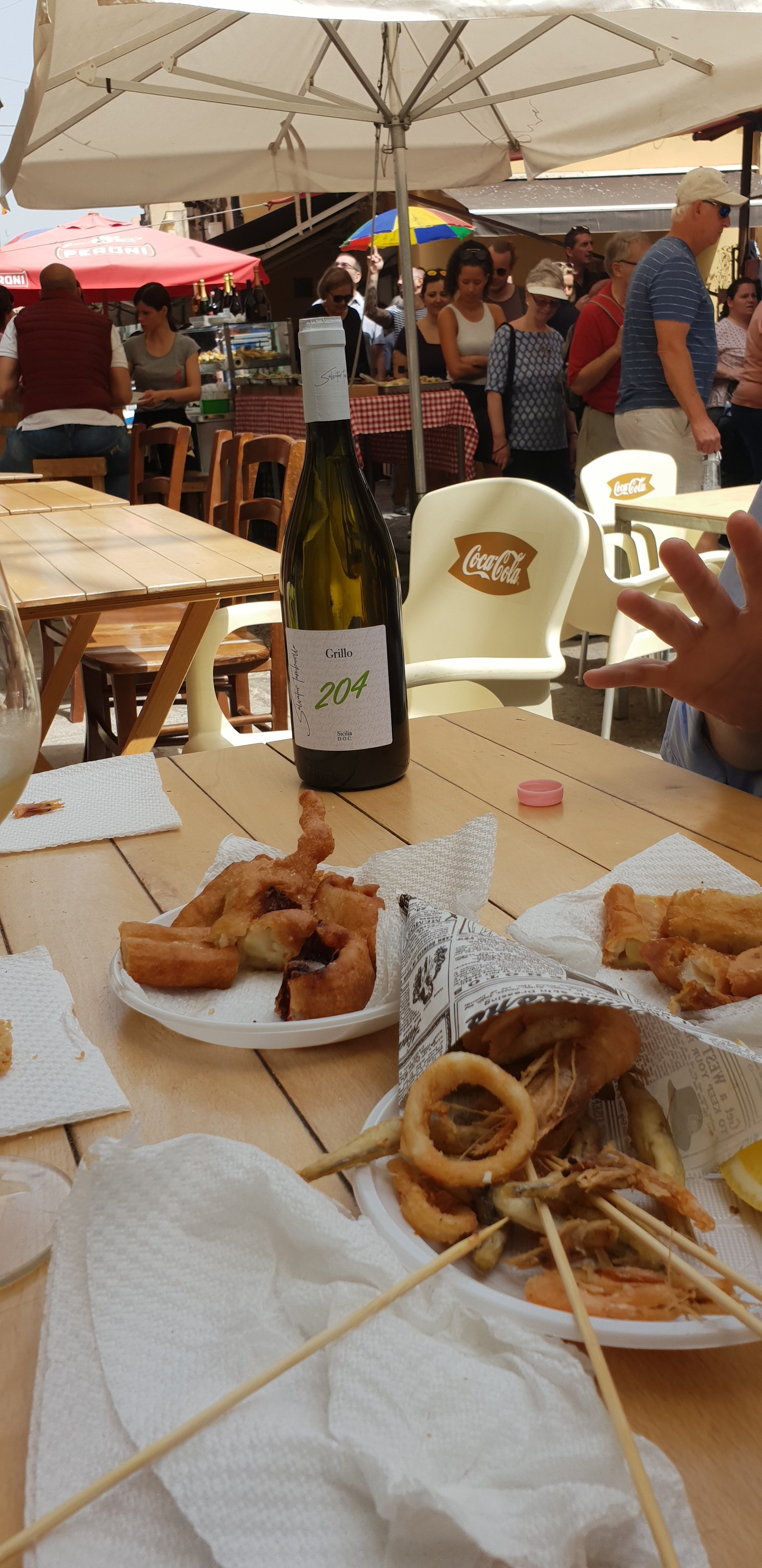 There's nothing like 'frittura mista' and a glass of Grillo white wine, Palermo