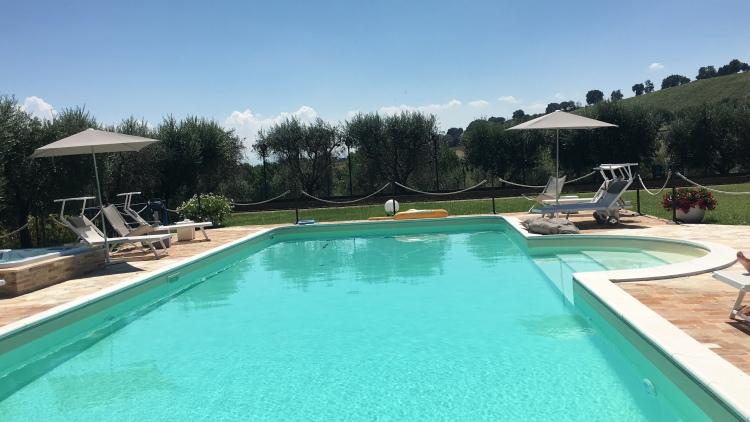 The beautiful pool at Villa Pedossa, Marche, Italy