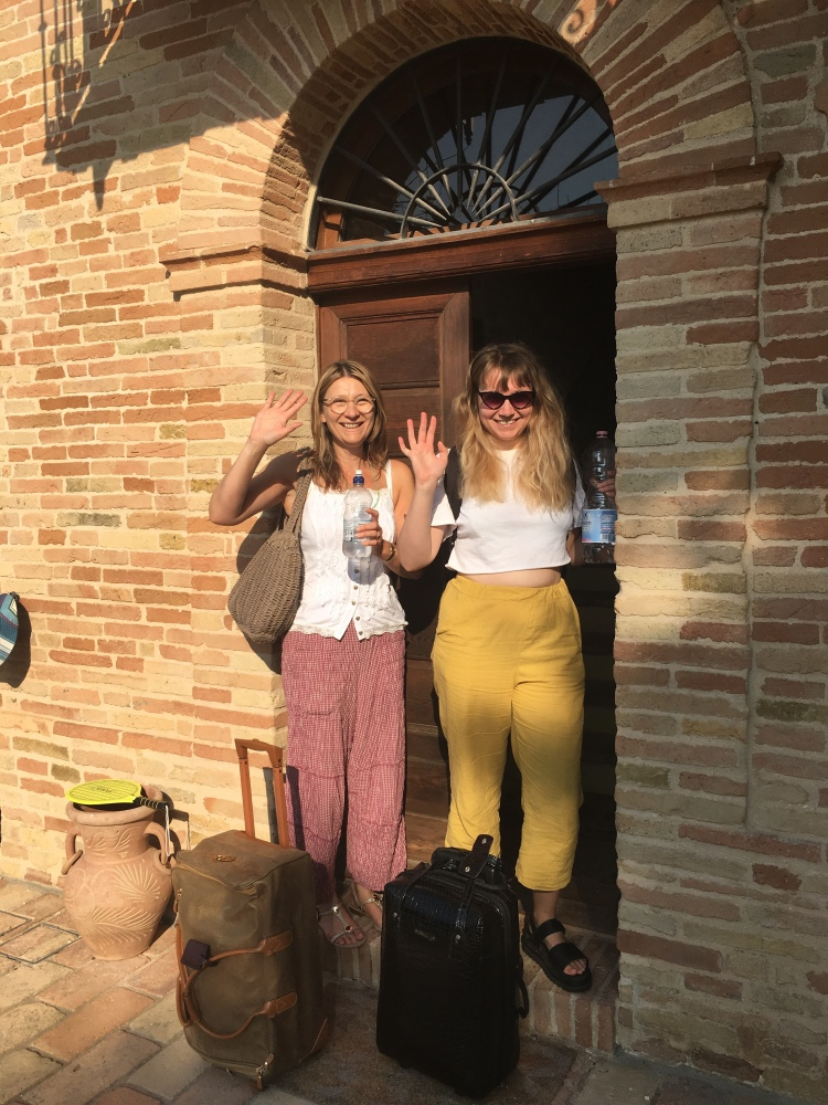 Villa Pedossa, Italy - was this coming or going? Emma and Sue are heading off I think!