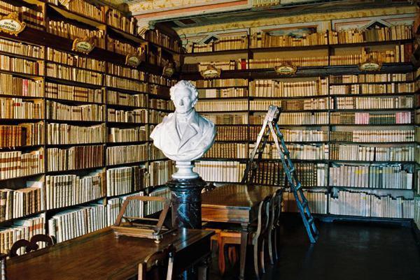 The Library at Casa Leopardi - the family home of poet Giacamo Leopardi, Recanati, Italy