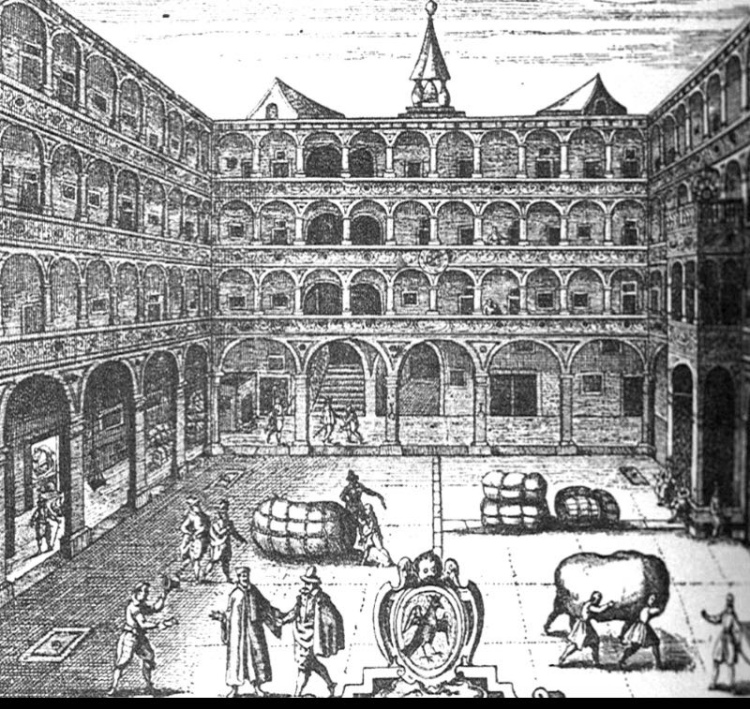 This 18th century etching of the interior courtyard of the 'Fondaco dei Tedeschi' shows goods being moved & gentlemen negotiating