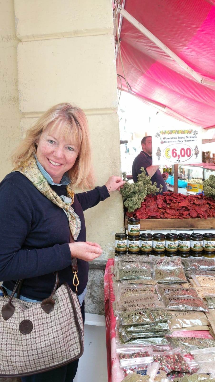 Herbs, spices and huge bunches of Oregano at Palermo street market