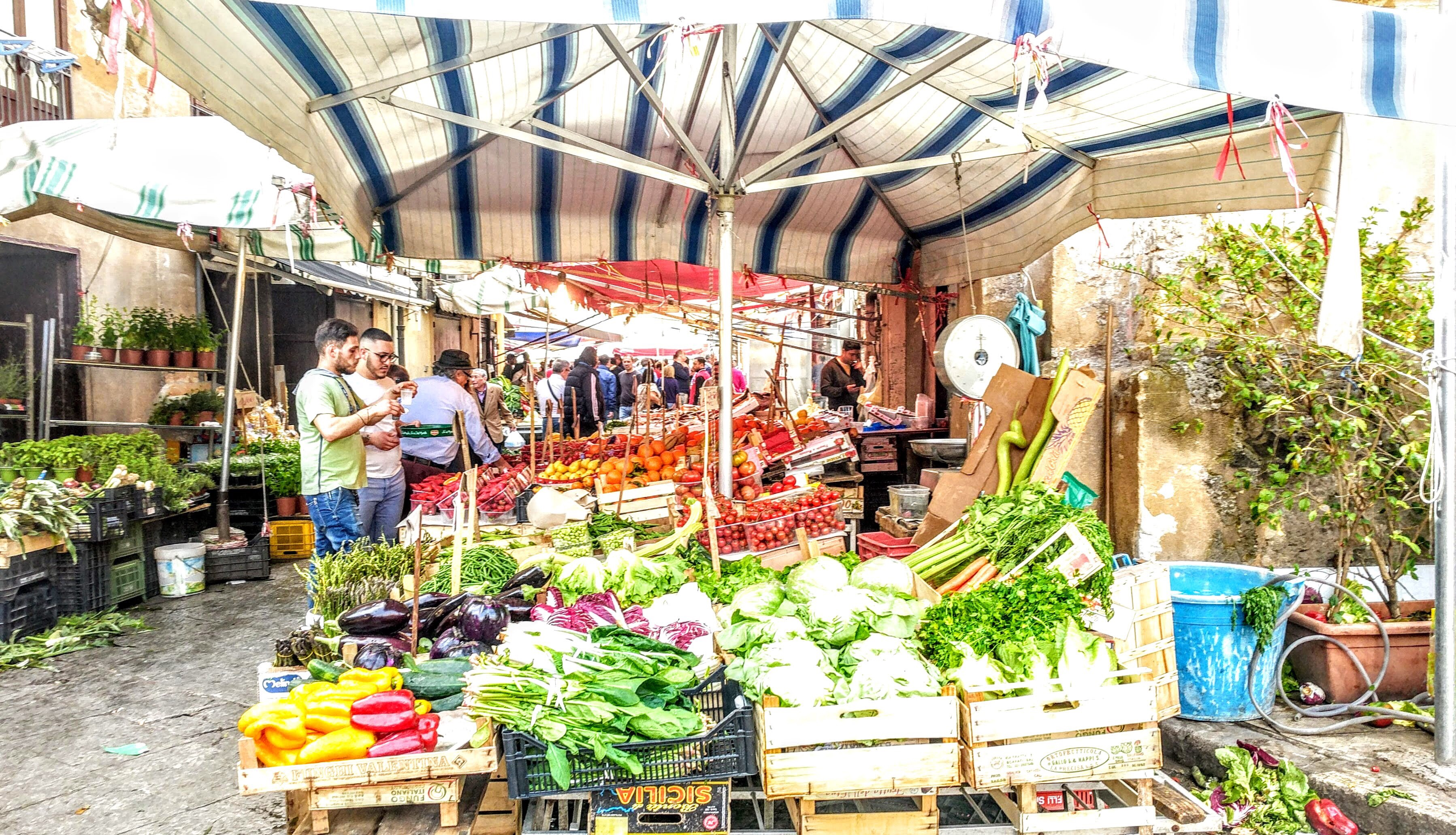 Capo Market, Palermo - a colourful selection of fruit and vegetables