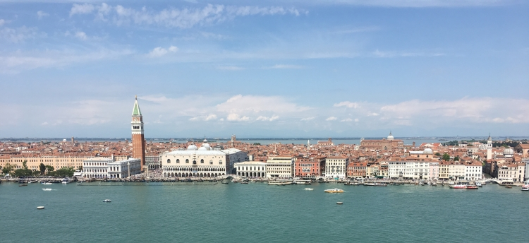 Venice as viewed from the lagoon. The Bell tower of St Mark's with the Doge's Palace to the right.