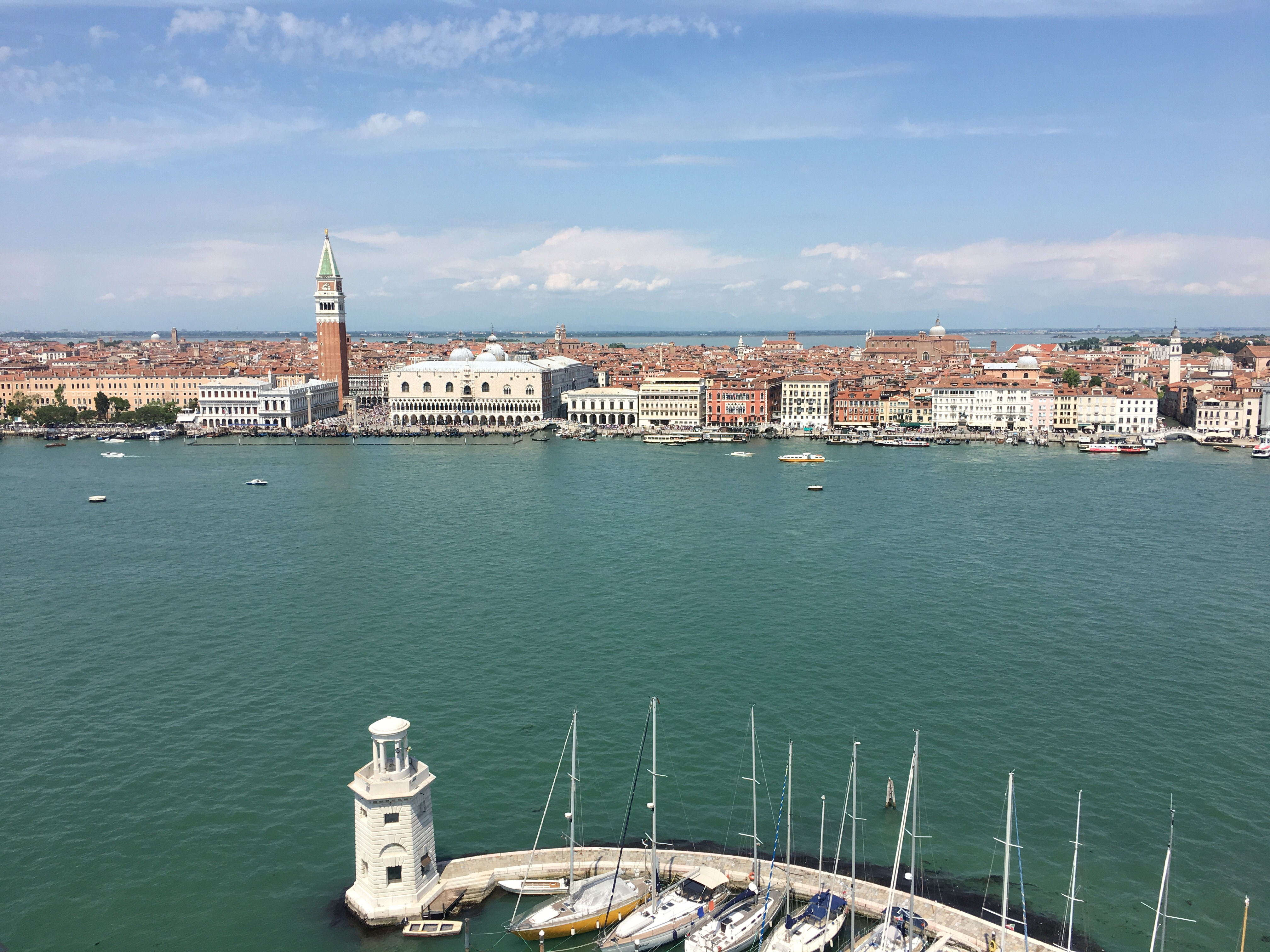 When you are out on the lagoon don't miss the view from San Giorgio Maggiore. As the Italians say it is 'stupenda'
