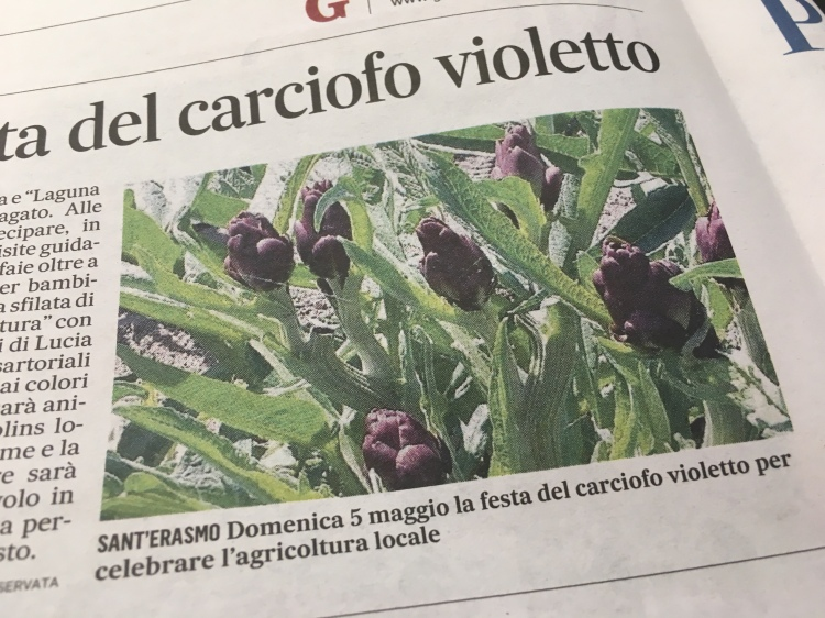 The Carciofo Violetto Festa - 05 May, 2019 advertised in Il Gazzettino.