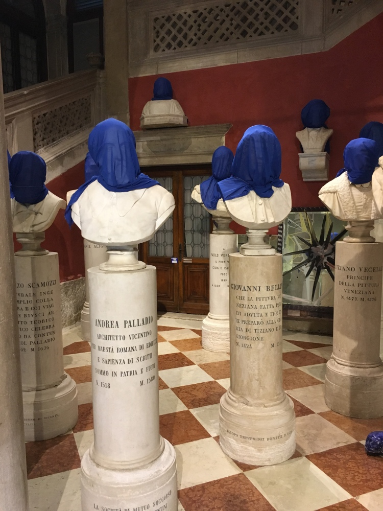 Palazzo Loredan - portrait busts covered by Cuban artist Carlos Quintana - Biennale, 2019