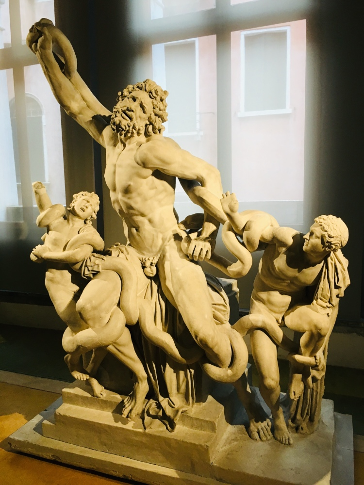 A Classical Palace was incomplete without a Laocoon Sculpture. This sculptural grouping was indicative of power, honour, good triumphing over evil. This is a plaster cast c. 16th century.
