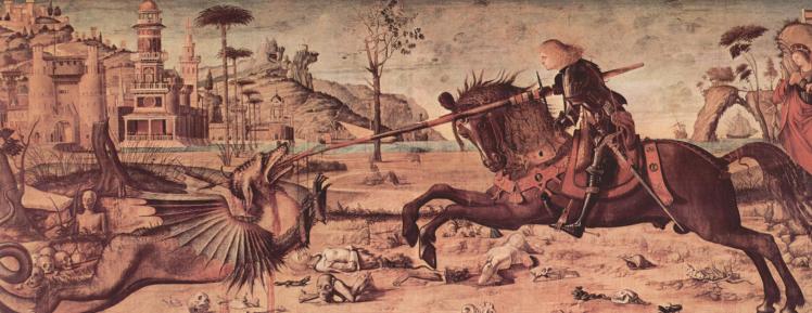San Giorgio kills the Dragon - painting from Scuola San Giorgio degli Schiavoni, Venezia - Carpaccio