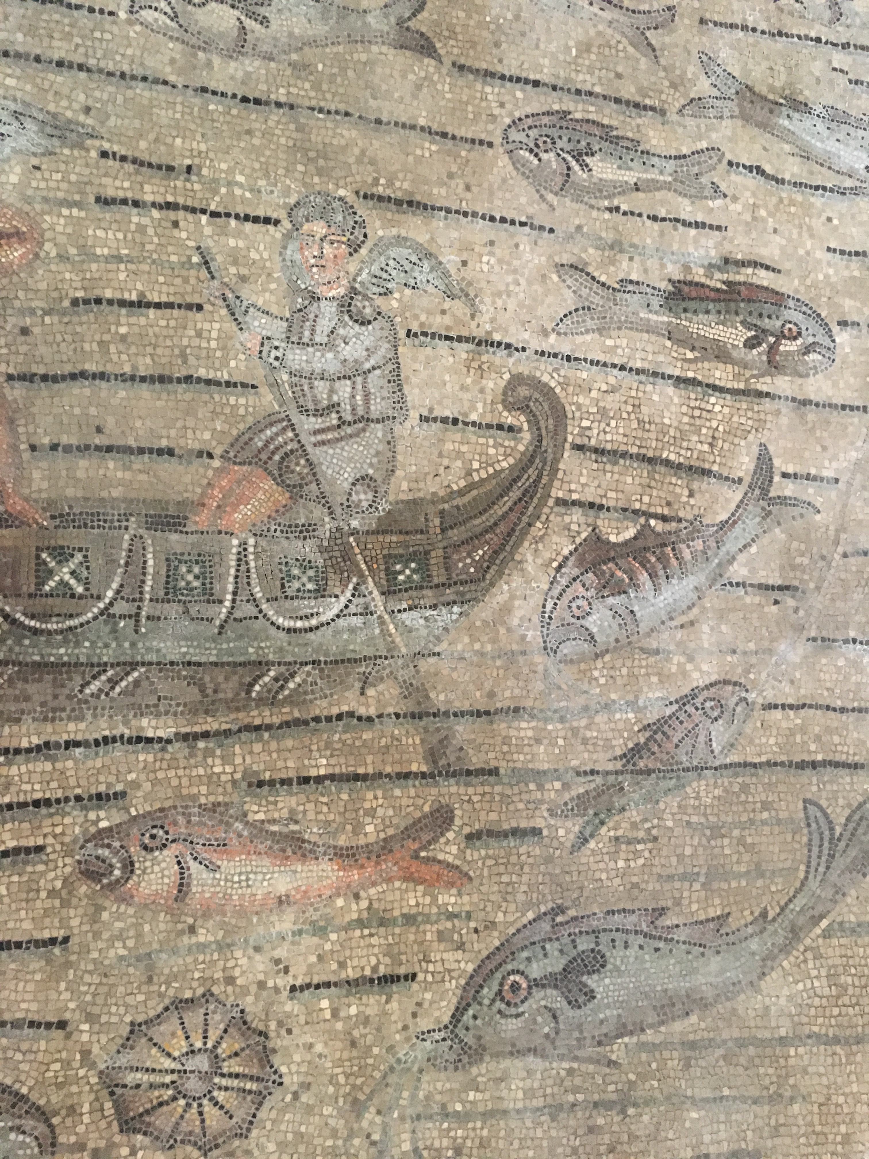 Aquileia - roman mosaics, the details are quite extraordinary. Dating from 4th century AD - an angelic fisherman surrounded by a rich harvest of souls! www.educated-traveller.com