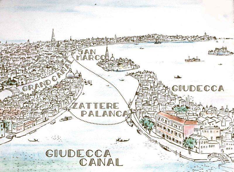 Fortuny map showing their studio and workshop (Giudecca) and how to get htere from San Marco and Zattere, 2019