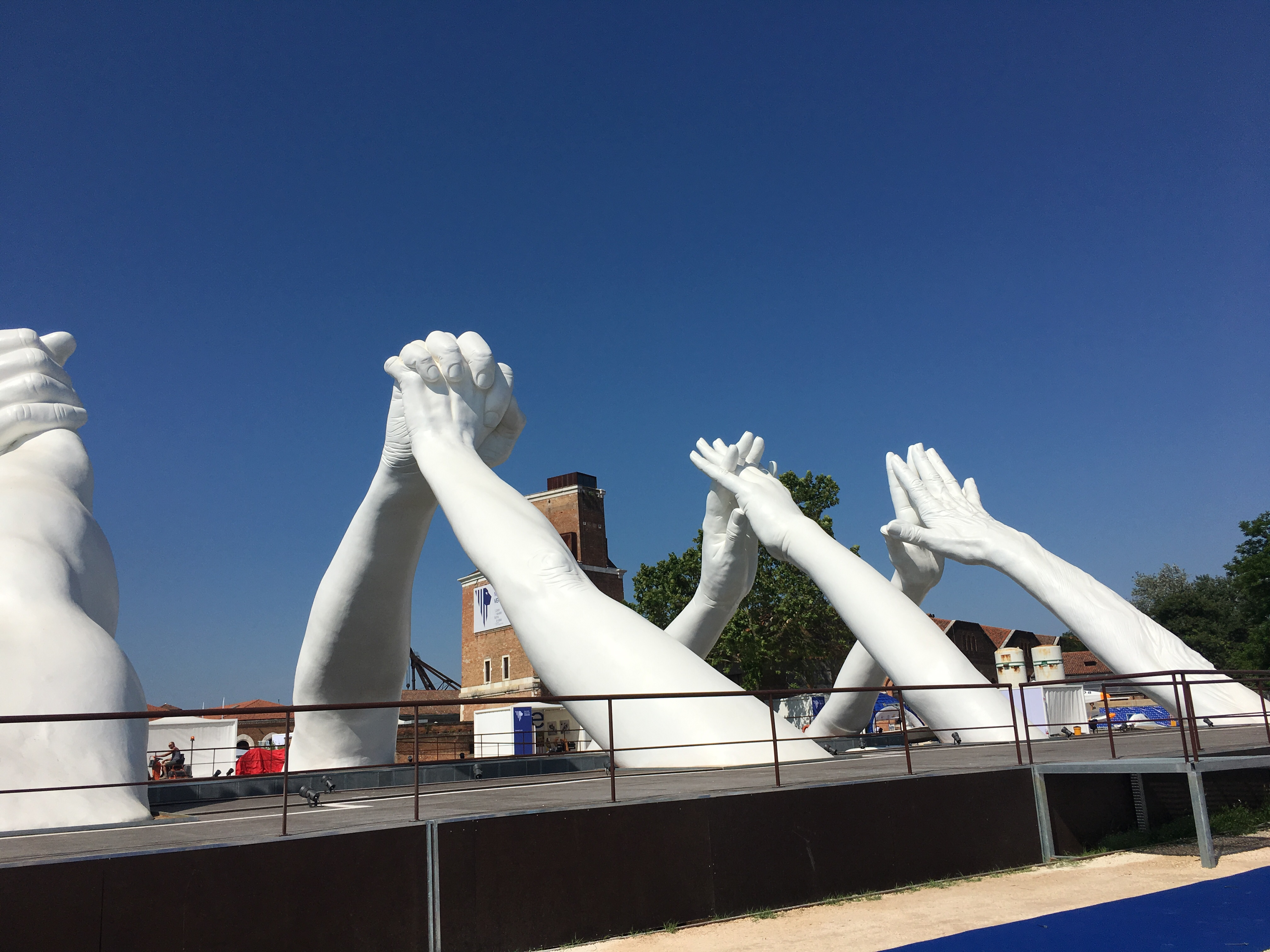 Lorenzo Quinn's 'Building Bridges' installed at one of the old dry docks east of Arsenale, Venezia