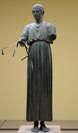 The Charioteer of Delphi, bronze statue discovered at Delphi, Greece - 1896