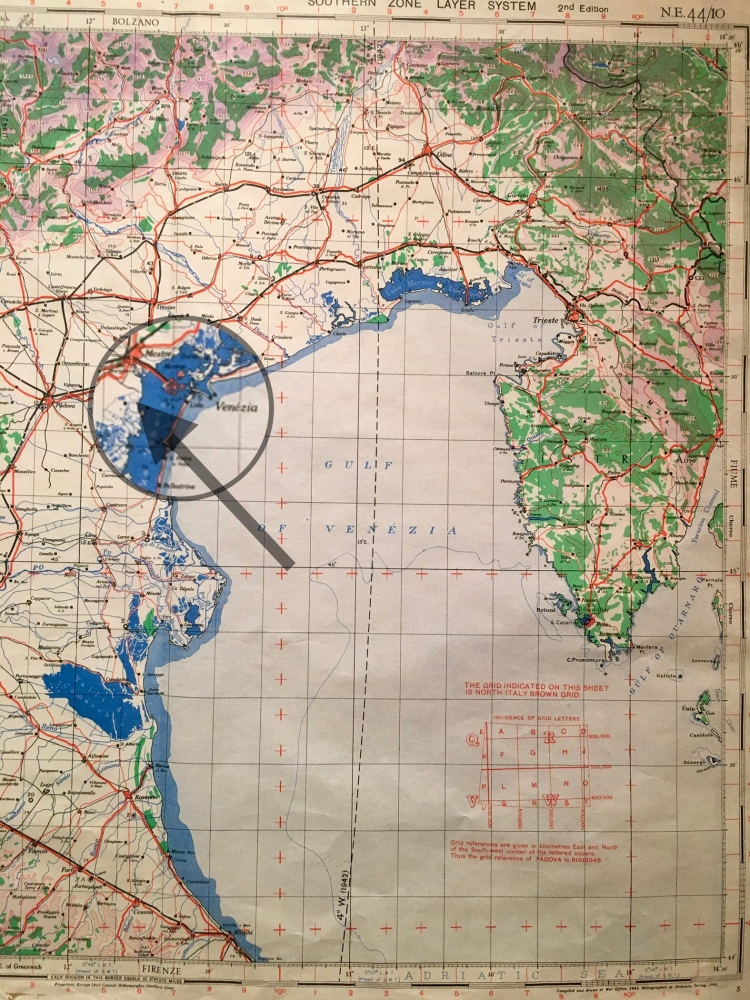 1942 map of the Venetian Lagoon and Adriatic Sea. The arrow marks the location of Villa Malcontenta