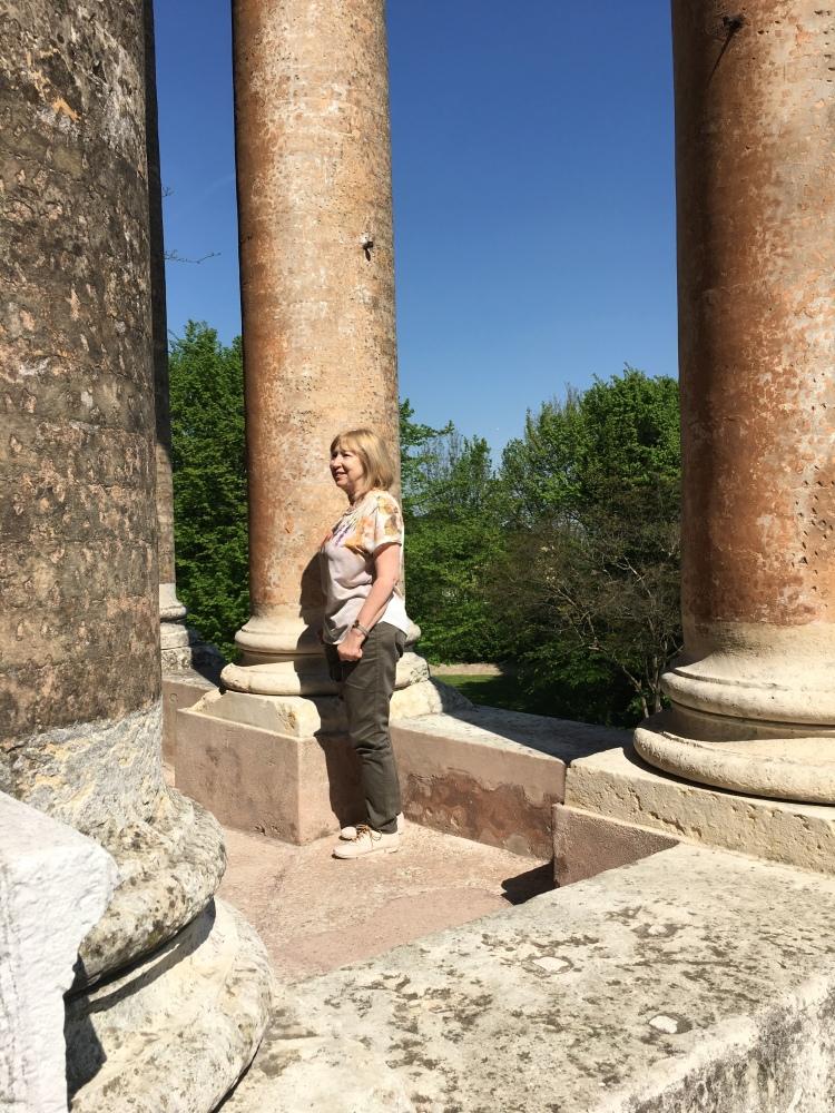 Marian examines the Palladian loggia - Villa Malcontenta