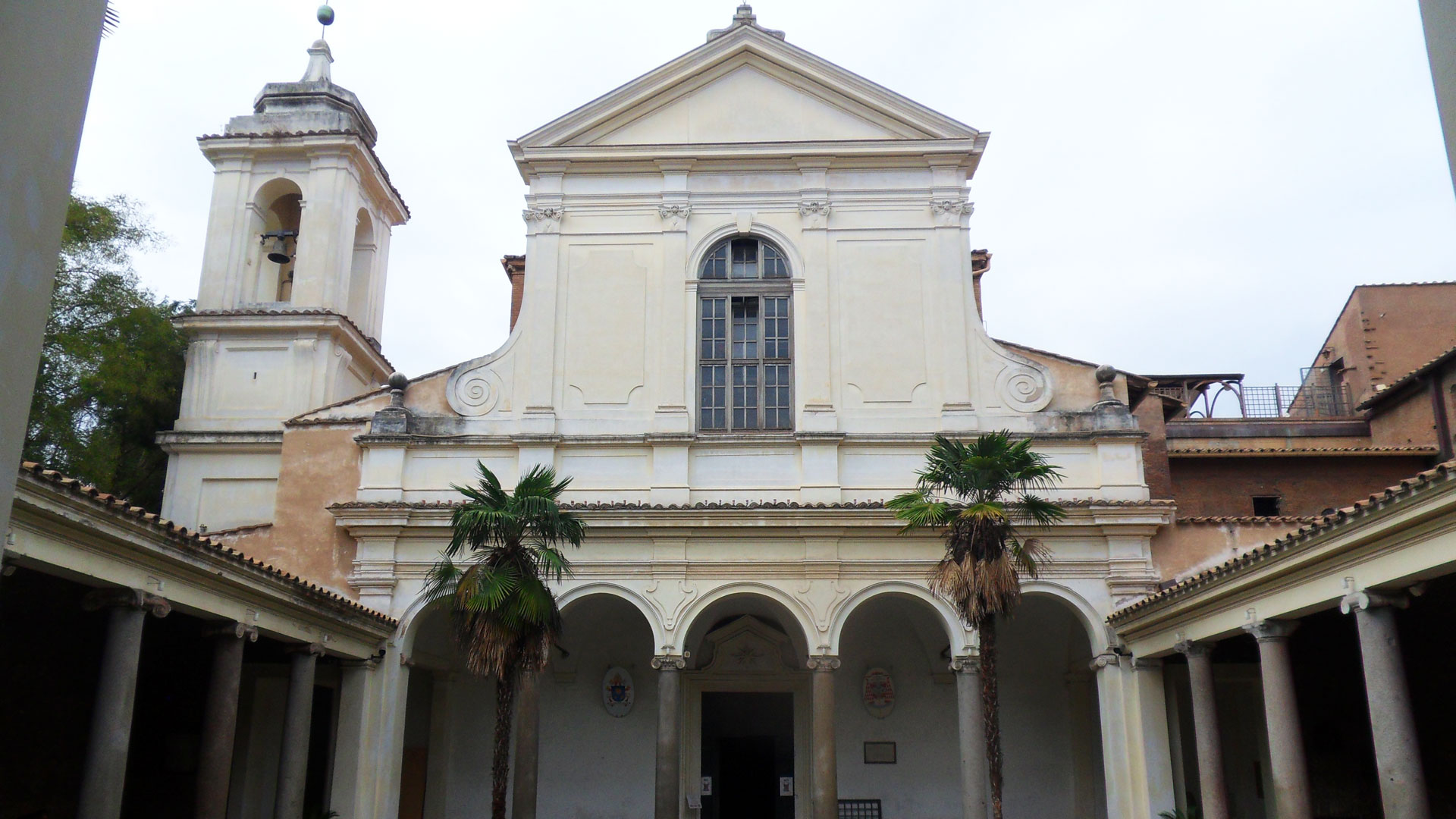 San Clemente - facade of 'modern' Roman basilica with cloisters