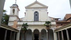 San Clemente - facade of 'modern' Roman basilica with cloisters