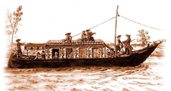 Burchiello tradizionale - etching of original Burchiello vessel