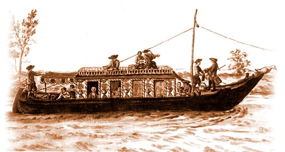 Burchiello tradizionale - etching of original Burchiello vessel